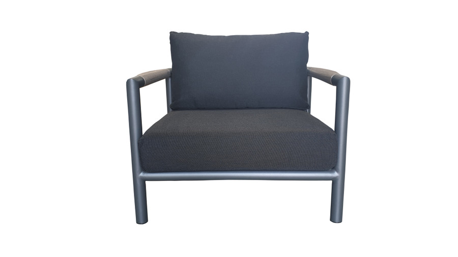 Front view of Bastingage outdoor low lounge chair in powder-coated aluminium with teak accents and Sunbrella cushions.