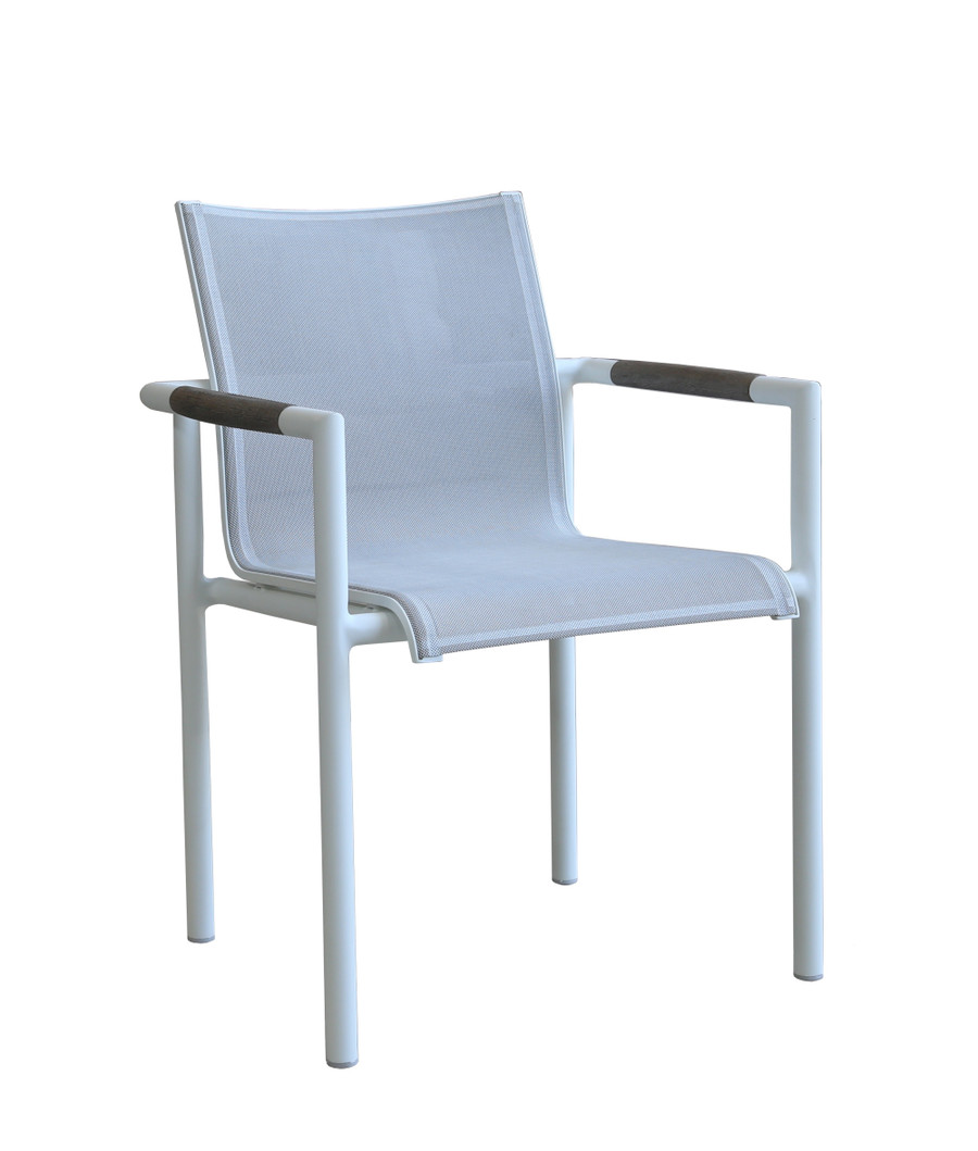 Bastingage outdoor dining arm chair (stackable) with white powder-coated aluminium frame, teak accents finished in Duratek proprietary coating and Batyline Eden mesh.