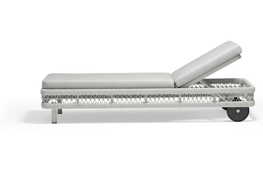 Club Outdoor Aluminium and Rope Sun Lounger - Light Grey