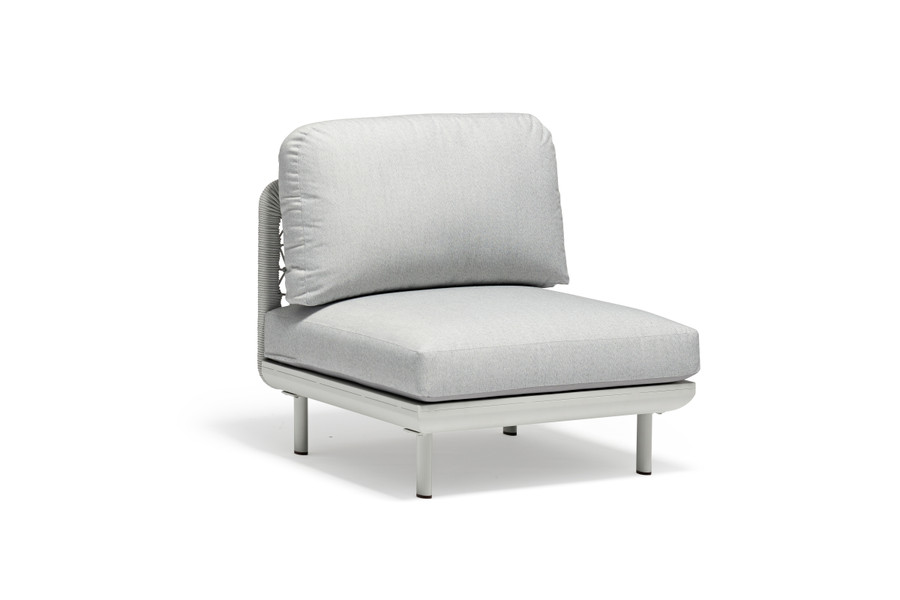 Club Outdoor Arm-less Single Sofa. Use it as an arm-less chair, or use it to increase the size of your modular Club Sofa.