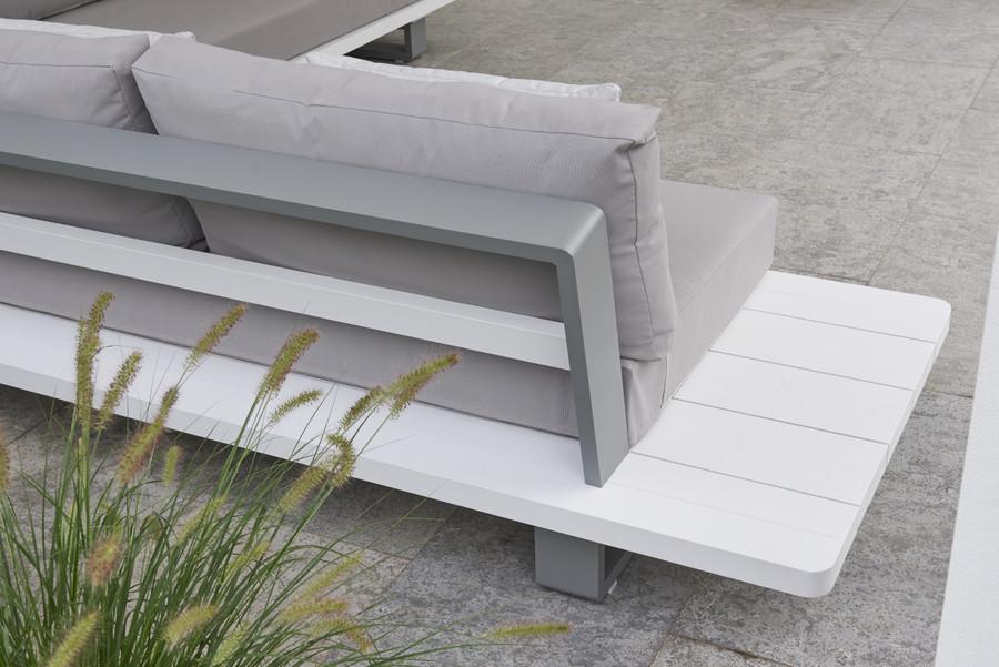 LIFE BORA BORA Large Format Outdoor Aluminium Corner Lounge - White and Grey, with Sunbrella cushions