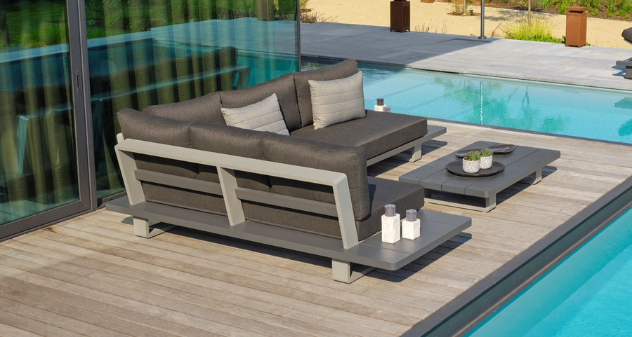 Rear view of Bora Bora, a large format, corner outdoor lounge set constructed from fully welded aluminium (Alu), and finished in an attractive 2 tone powder-coated finish. Lava frame, with light grey accent.