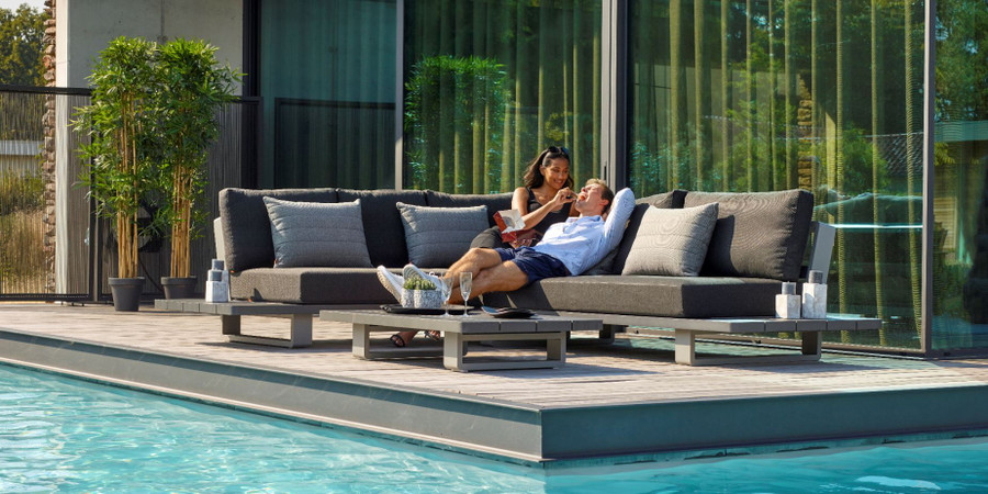 Bora Bora is a large format, corner outdoor lounge set constructed from fully welded aluminium (Alu), and finished in an attractive 2 tone powder-coated finish. Lava frame, with light grey accent.