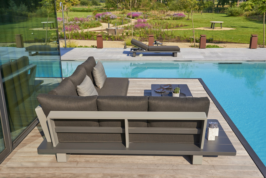 Back view of Bora Bora, a large format, corner outdoor lounge set constructed from fully welded aluminium (Alu), and finished in an attractive 2 tone powder-coated finish. Lava frame, with light grey accent.