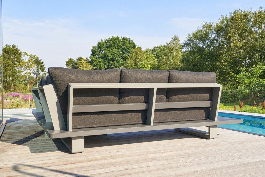 Another back view of Bora Bora, a large format, corner outdoor lounge set constructed from fully welded aluminium (Alu), and finished in an attractive 2 tone powder-coated finish. Lava frame, with light grey accent.