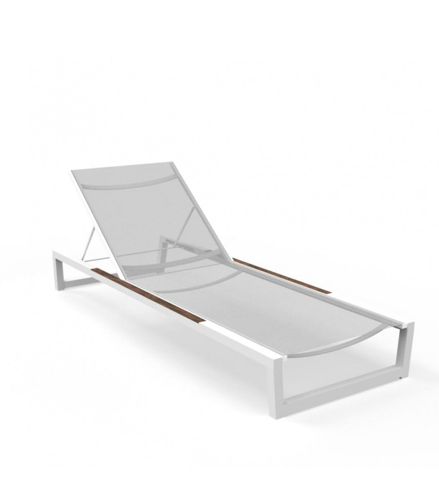 Alabama Alu Sun Lounger by Talenti in white frame with light grey textilene sling and teak accents