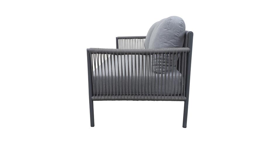 Side view of Catania outdoor aluminium and rope sofa 180cm with premium Sunbrella Cast grey fabric