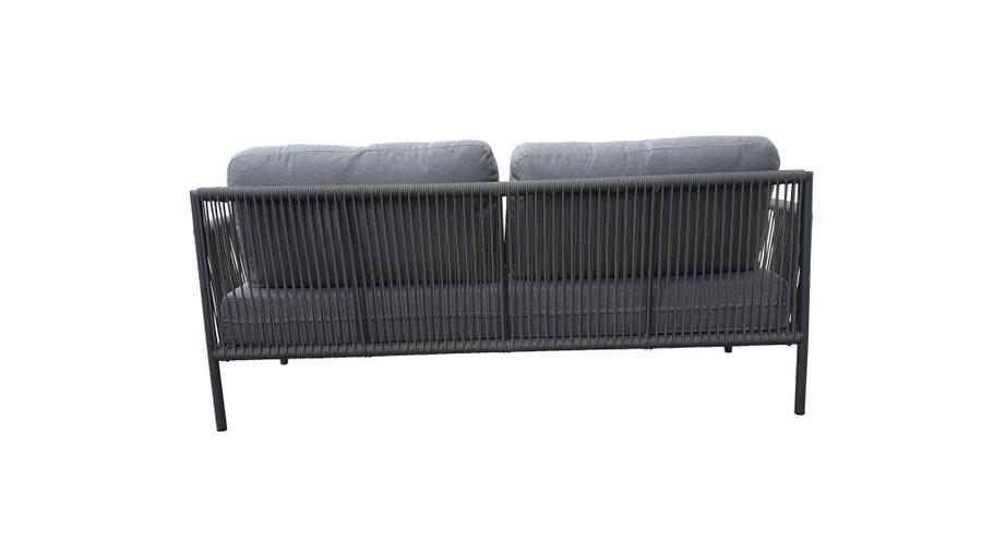 Rear view of Catania outdoor aluminium and rope sofa 180cm with premium Sunbrella Cast grey fabric
