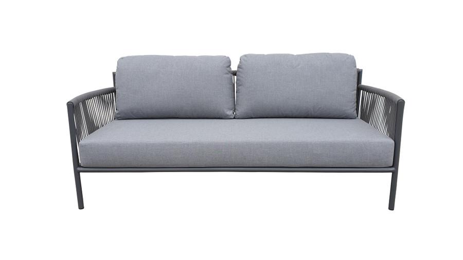 Front view of Catania outdoor aluminium and rope sofa 180cm with premium Sunbrella Cast grey fabric