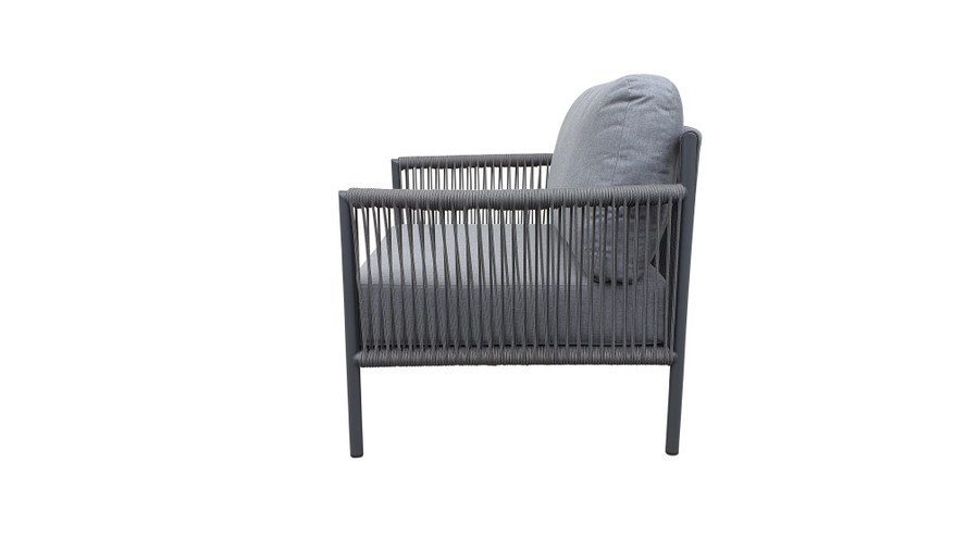 Side view of Catania outdoor lounge chair with aluminium frame and outdoor rope and sunbrella cushions
