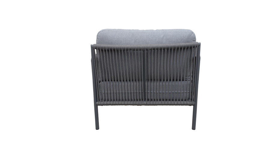 Rear view of Catania outdoor lounge chair with aluminium frame and outdoor rope and sunbrella cushions