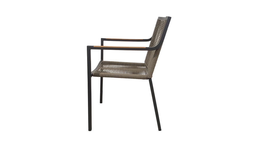 Side view of Ribbon stackable outdoor dining arm chair with aluminium frame and outdoor rope