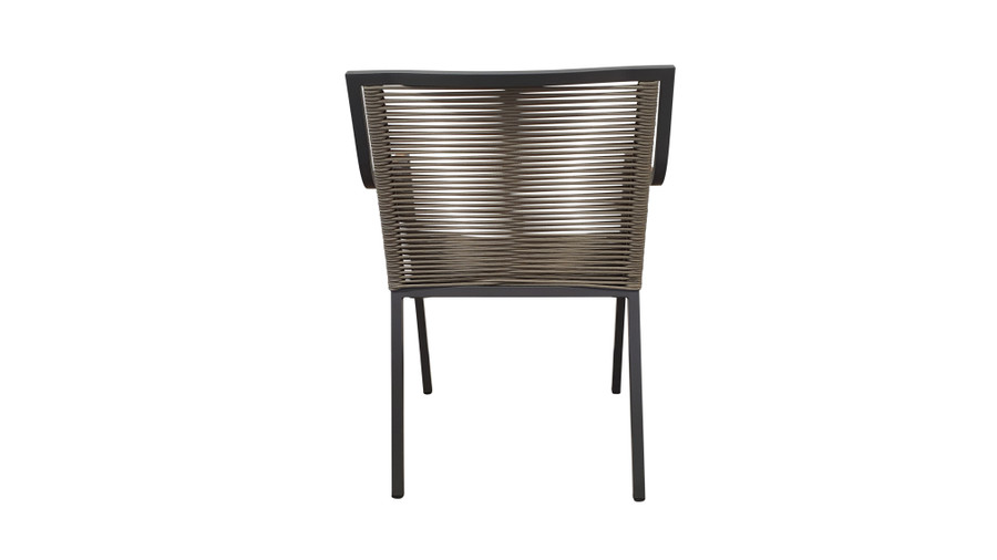 Rear view of Ribbon stackable outdoor dining arm chair with aluminium frame and outdoor rope