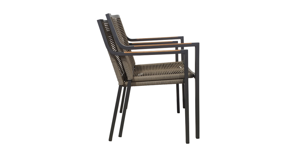 Ribbon stackable outdoor dining arm chair with aluminium frame and outdoor rope, stacked