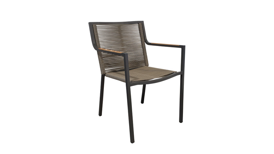 Ribbon stackable outdoor dining arm chair with aluminium frame and outdoor rope