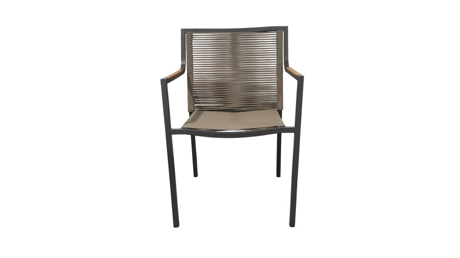 Froint view of Ribbon stackable outdoor dining arm chair with aluminium frame and outdoor rope