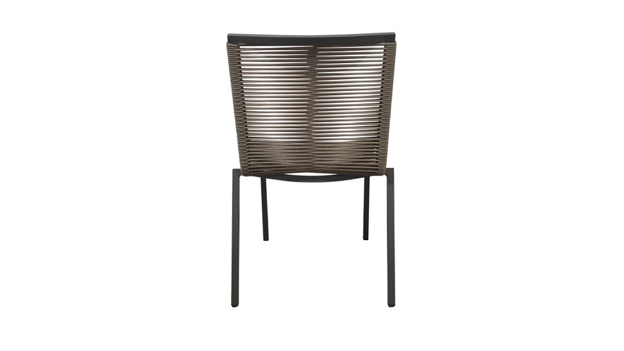 Rear view of our Ribbon outdoor STACKABLE dining side chair is a quality chair made with outdoor rope wound around a powder-coated aluminium frame.