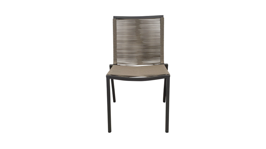 Front view of our Ribbon outdoor STACKABLE dining side chair is a quality chair made with outdoor rope wound around a powder-coated aluminium frame.