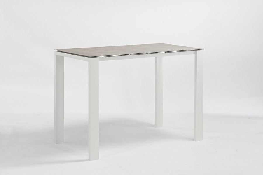 Poly Ceramic top and aluminium frame outdoor bar table in 2 colour ways. Size 150x80x108H. Table shown is white frame.