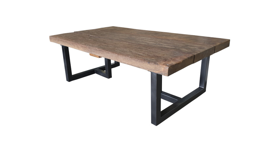 Side view of Pure Aged Railwood Outdoor Coffee Table - with epoxy black stainless steel legs