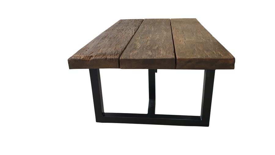 End view of Pure Aged Railwood Outdoor Coffee Table - with epoxy black stainless steel legs
