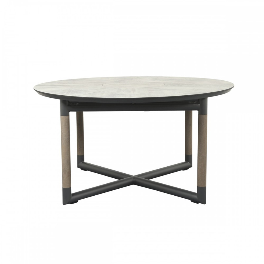 Please note - table top in picture is different from actual table top supplied. Supplied table top is SLATE GREY. Picture is an illustration of the frame colour and design of the table. Bastingage extension table 146-206cm, Shown in closed position.