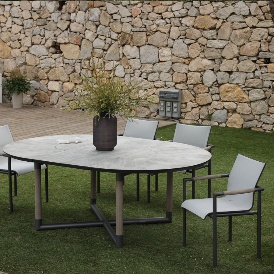 Please note - table top in picture is different from actual table top supplied. Supplied table top is SLATE GREY. Picture is an illustration of the frame colour and design of the table. Bastingage extension table 146-206cm