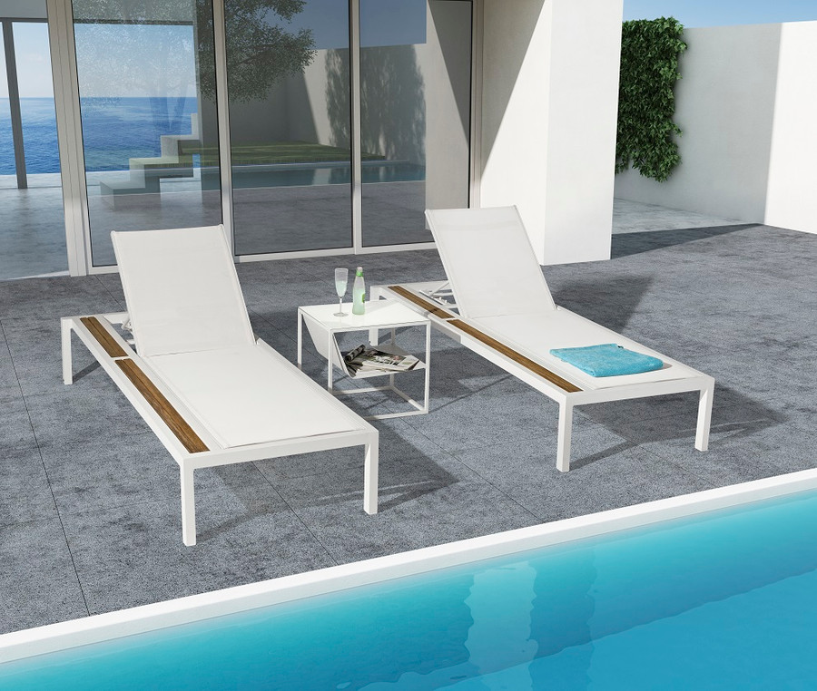 Front view of Oasis outdoor sun lounger with white aluminium frame and light grey batyline sling and drinks rail. For light grey sling colour reference, take a look at the Polo lounge chair in light grey mesh.
