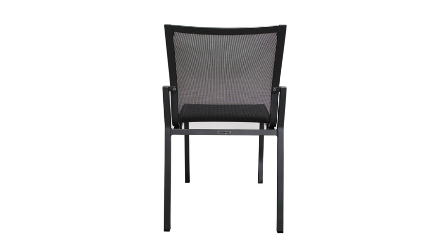 Rear view of Amaka outdoor side chair in Slate Grey