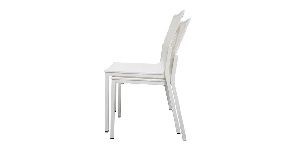 Amaka outdoor side chair is stackable