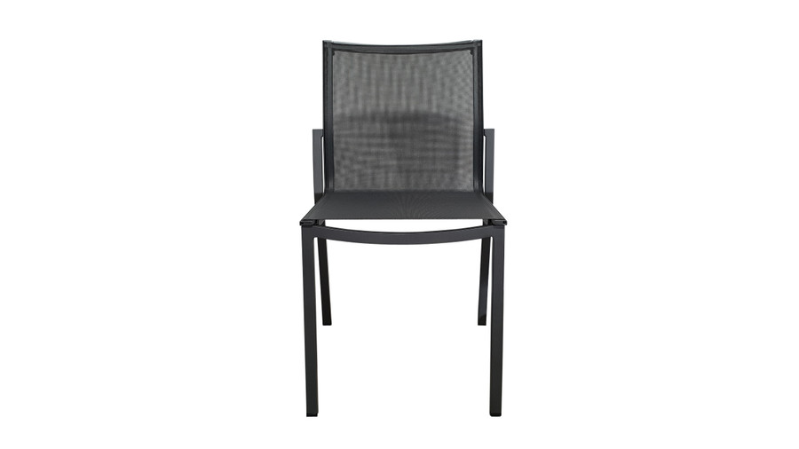 Front view of Amaka outdoor side chair in Slate Grey