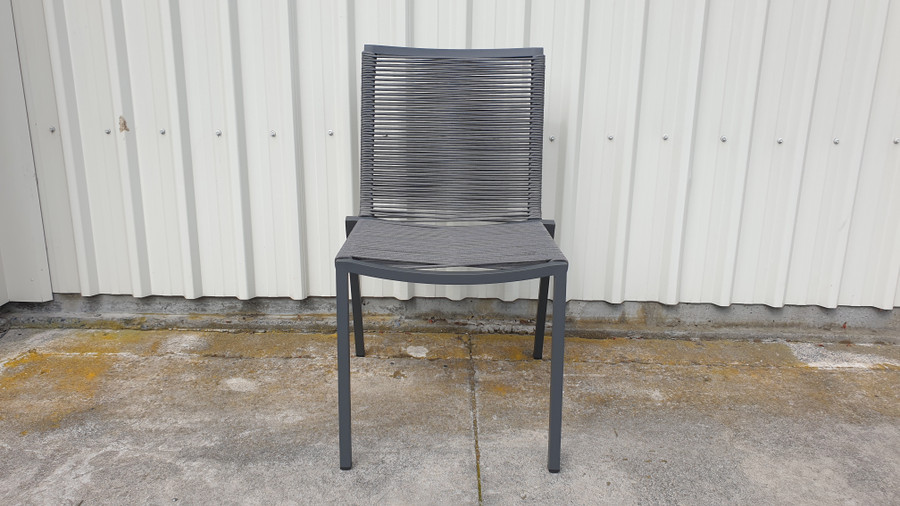 RIBBON Outdoor Aluminium and Rope Dining Side Chair - Grey Rope
