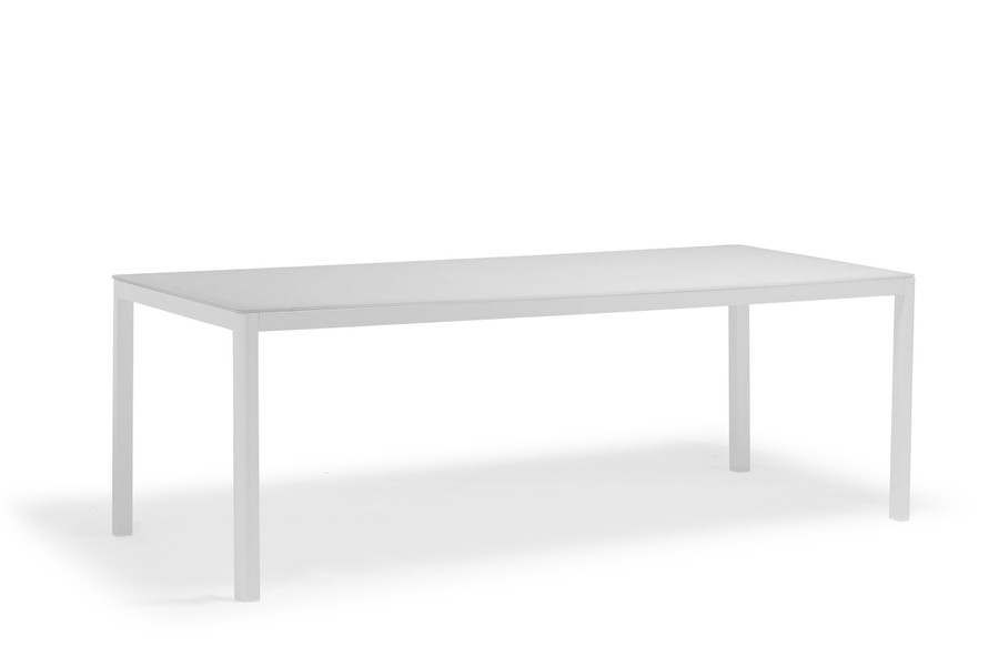 Ella outdoor dining table with white powder-coated aluminium frame and white etched glass top