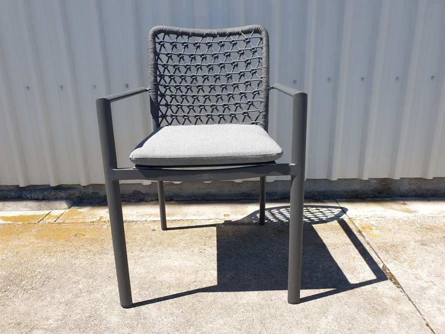 Club outdoor aluminium and rope stackable dining arm chair, with seat squab in dark grey