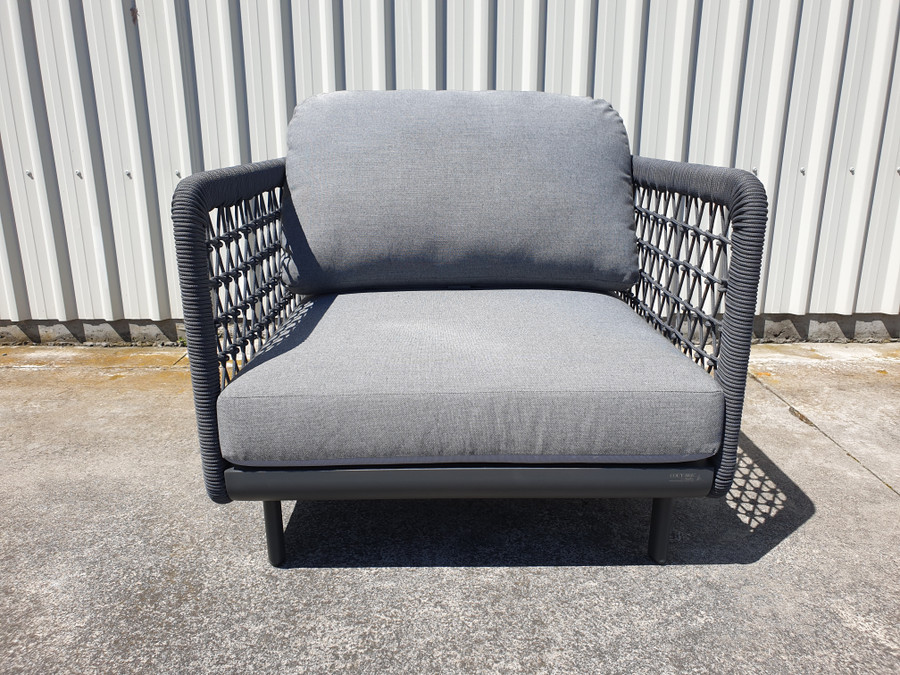 Front view of Club outdoor lounge chair by Couture Jardin in dark grey rope and fabric.