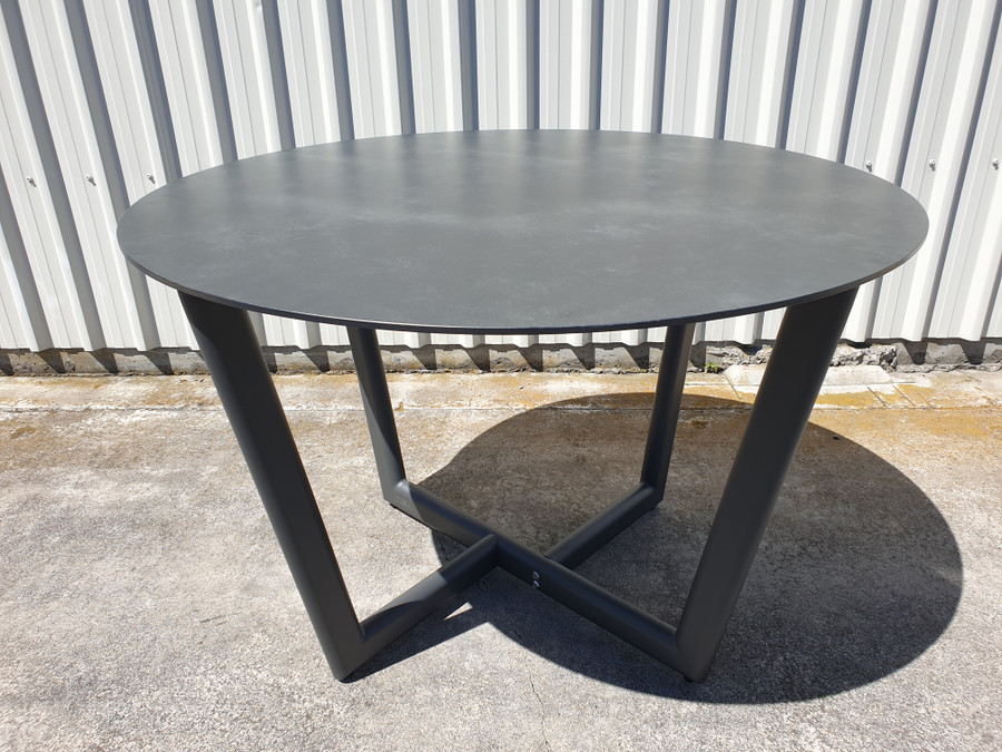 CLUB Outdoor Aluminium and Ceramic Round Top Dining Table by Couture - 110 dia Dark Grey