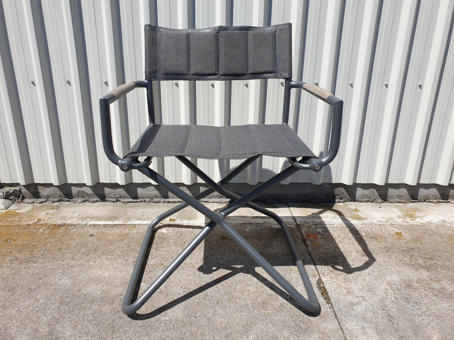 Front view of Bastingage premium outdoor directors chair in Slate grey finish