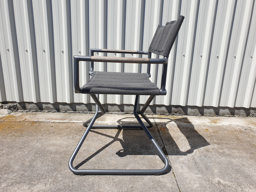 Side view of Bastingage premium outdoor directors chair in Slate grey finish