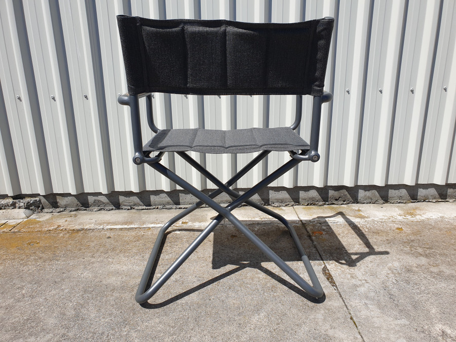 Rear view of Bastingage premium outdoor directors chair in Slate grey finish