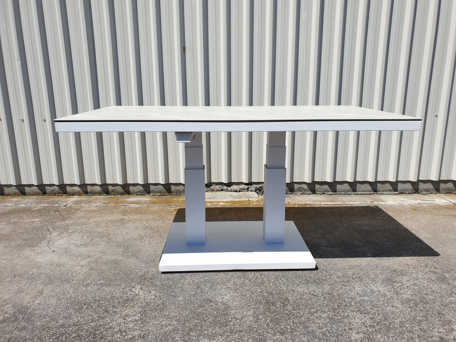 Zeb is a height adjustable outdoor coffee table. Shown at its highest height of 73cm