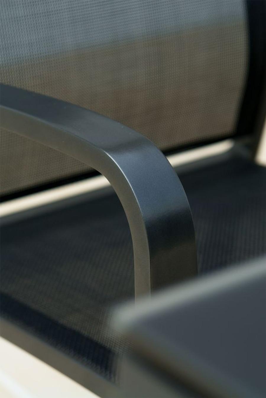 close up detail of quality powder-coated aluminium frame