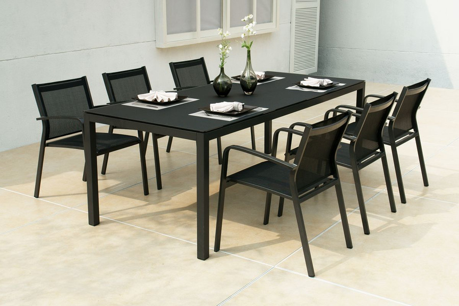 Black Lisbon table with charcoal frame, shown with Black sling Luis chairs with charcoal frame