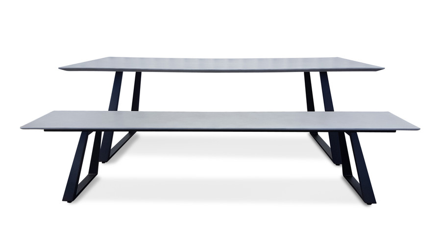 Verge bench shown with verge dining table