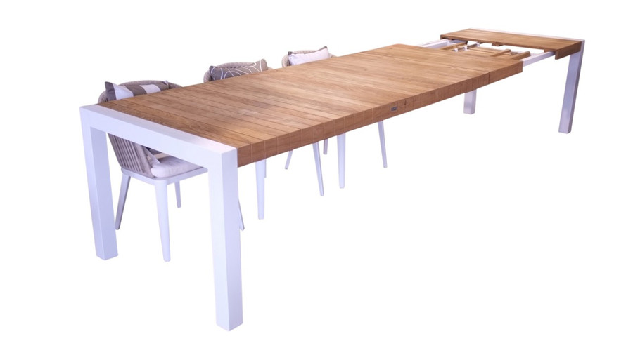 Ocala outdoor extending dining table with teak top, 220-320x100, white frame