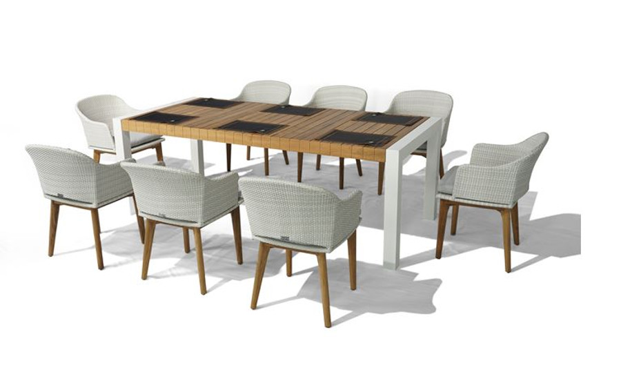 Ocala dining table shown with Ocala dining chairs