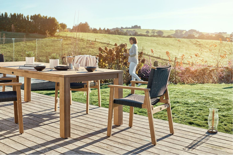 Devon Couper outdoor teak table available in 4 sizes from 1m square to 3m long