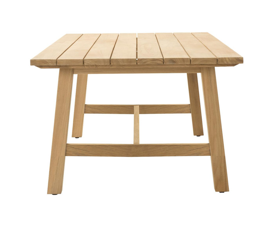 End view of Devon Claris large 3m teak outdoor dining table