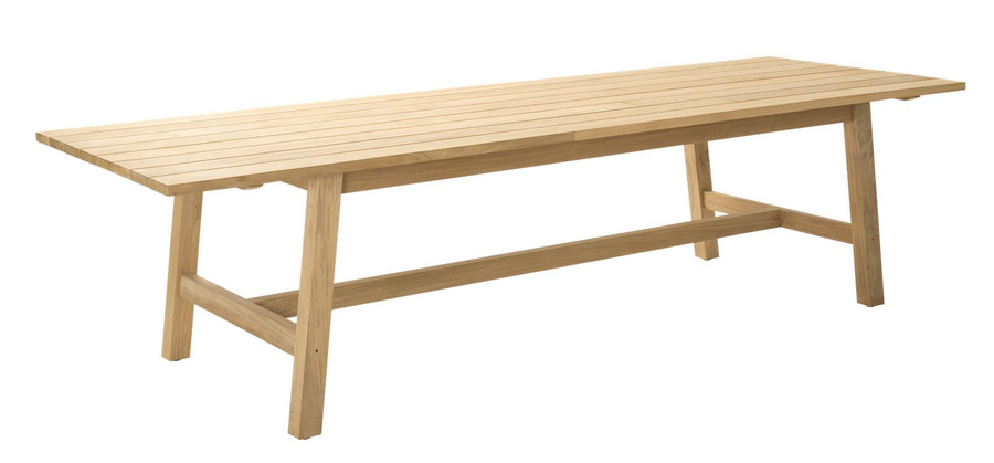 Angle view of Devon Claris large 3m teak outdoor dining table