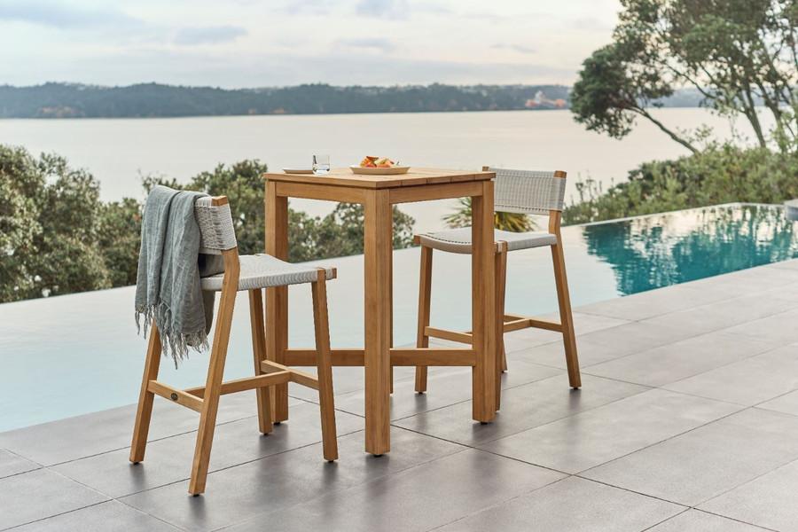 Devon Haast  outdoor bar table in durable teak