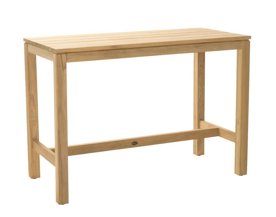 Angle view of Devon Haast rectangular teak bar table